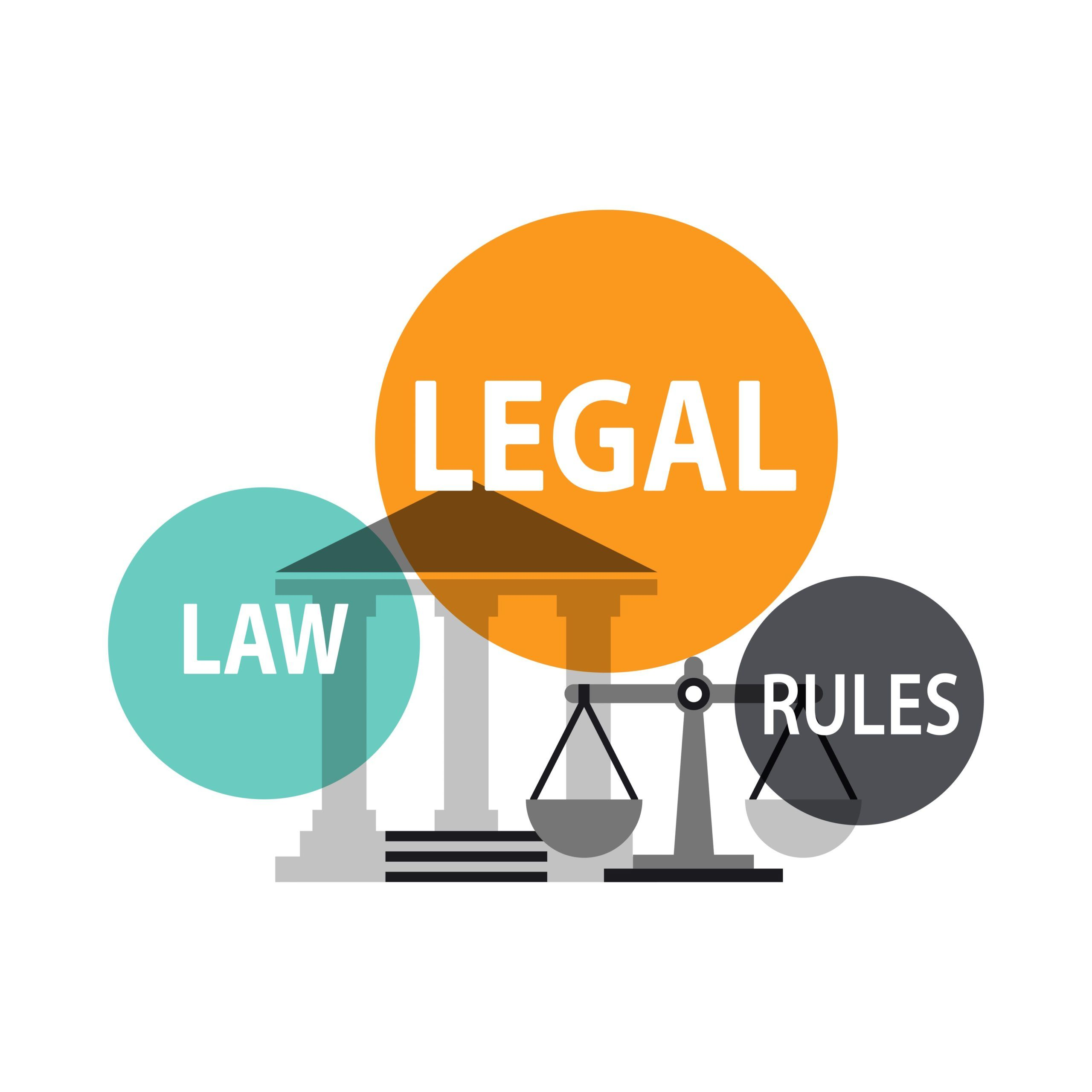 law, legal, and rules text inside circles on an image of a scale