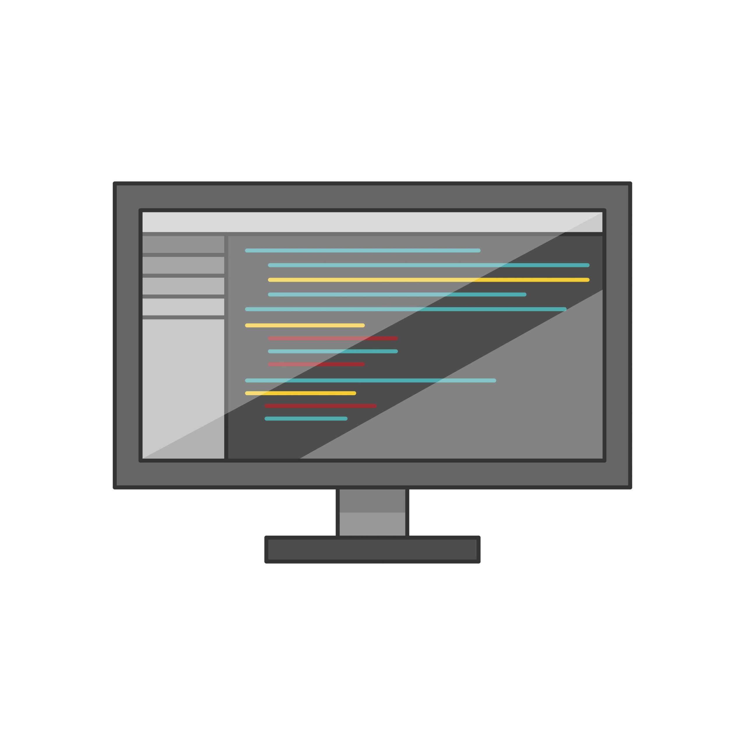 Computer monitor with blue and cyan lines of text on a white background