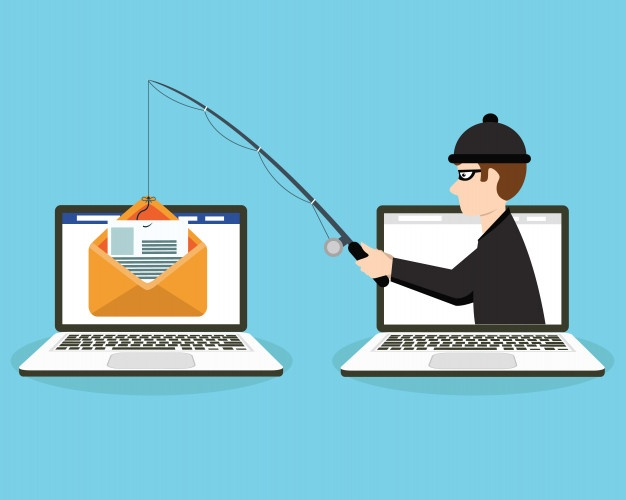 hacker phishing for envelope from laptop