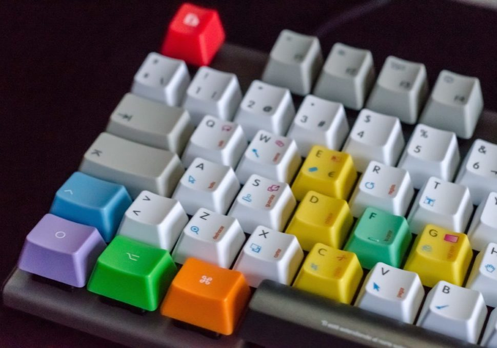 Multicolored keyboard slightly blurred out of focus